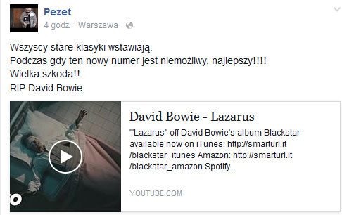 Pezet o Davidzie Bowiem /