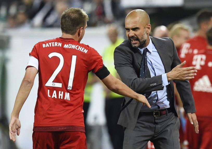 Philipp Lahm i Pep Guardiola /AFP