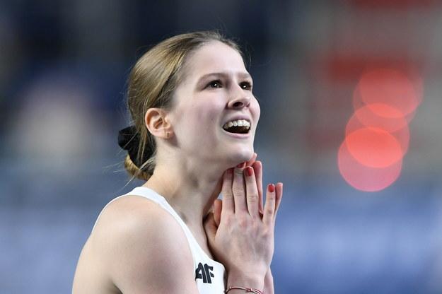 Pia Skrzyszowska po biegu kwalifikacyjnym na 60 m ppł podczas lekkoatletycznych halowych mistrzostw Europy w Toruniu / Adam Warżawa    /PAP