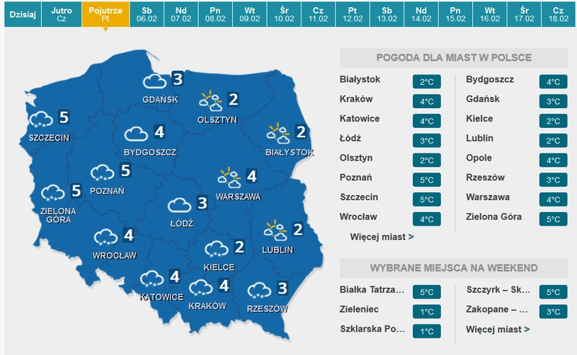 Piątek - prognoza pogody /INTERIA.PL