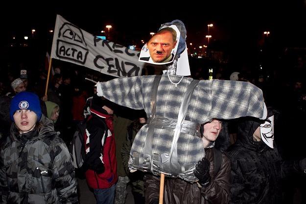 Piątkowy protest przeciw ACTA we Wrocławiu/fot. M. Kulczyński /PAP