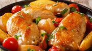 Pieczony kurczak z brzoskwiniami
