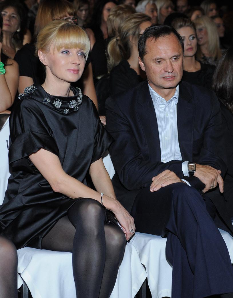 Pieńkowska z mężem na pokazie Zienia (2009 r.) /Andras Szilagyi /MWMedia