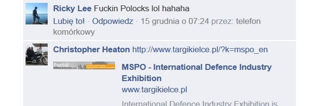 """Pieprzone polaczki. LOL"" /Facebook /INTERIA.PL"