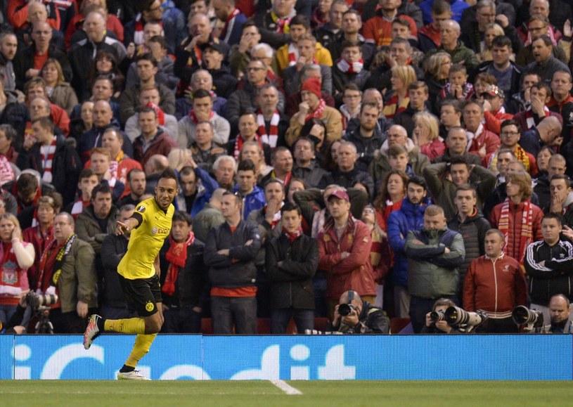 Pierre-Emerick Aubameyang podczas spotkania z Liverpoolem /AFP