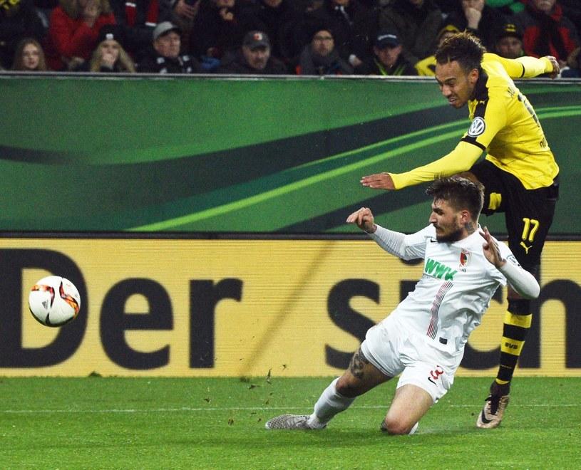 Pierre-Emerick Aubameyang w meczu z FC Augsburg /PAP/EPA