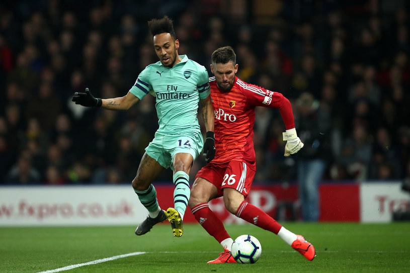 Pierre-Emerick Aubameyang właśnie w ten sposób strzelił jedynego gola /Marc Atkins /Getty Images