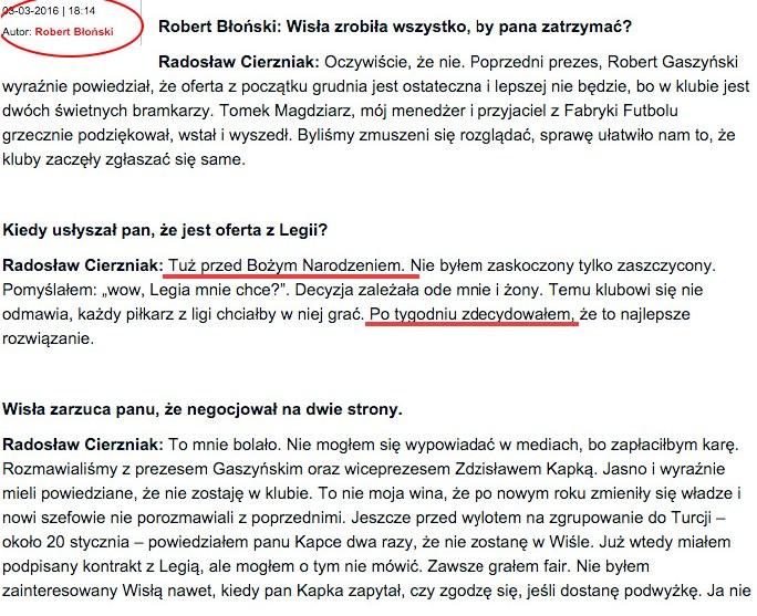 """Pierwotna wersja wywiadu z """"Przeglądu Sportowego"""" /INTERIA.PL"""