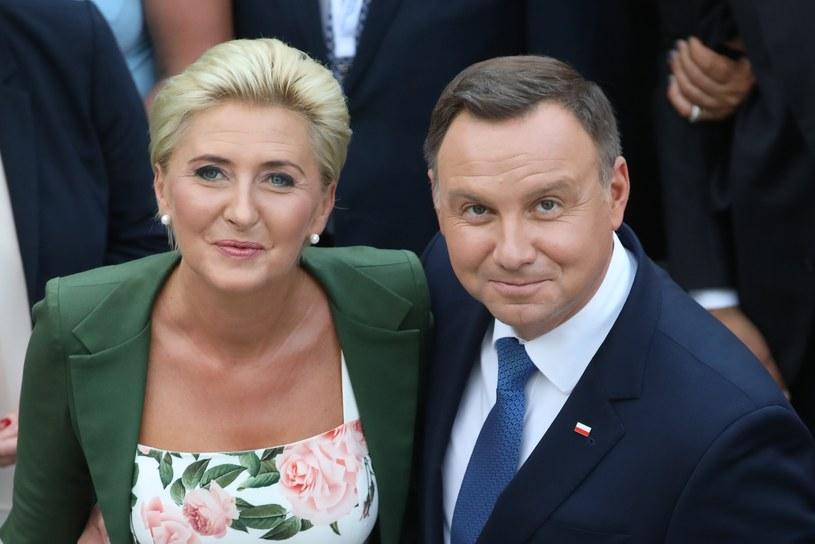 Pierwsza Dama Agata Kornhauser-Duda i prezydent Andrzej Duda /Andrzej Iwańczuk /Reporter