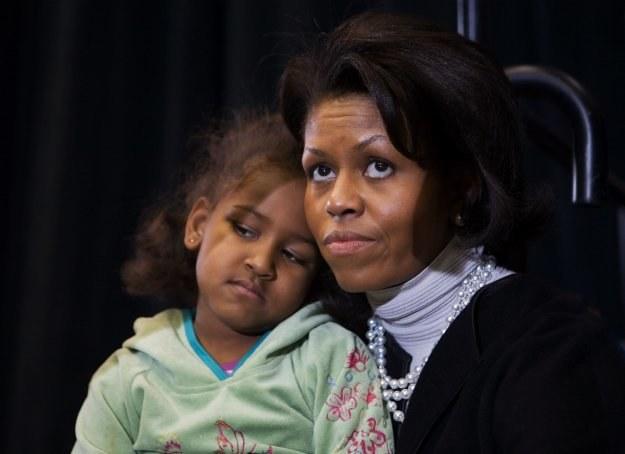 Pierwsza Dama USA Michelle Obama z córką Sashą /AFP