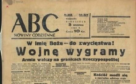 """Pierwsza strona """"ABC"""" - """"Nowin codziennych"""" z 3 września 1939 roku /Archiwum"""