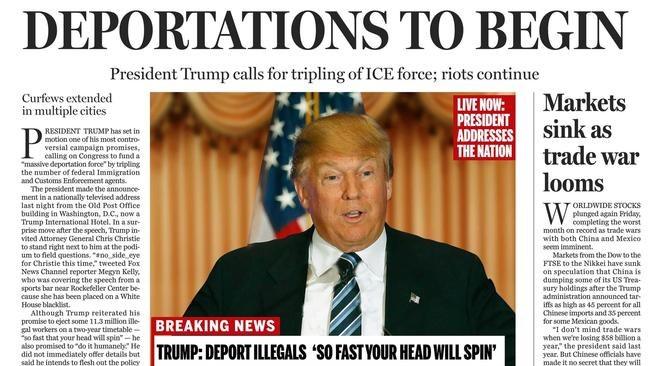 """Pierwsza strona """"Boston Globe"""" /"""