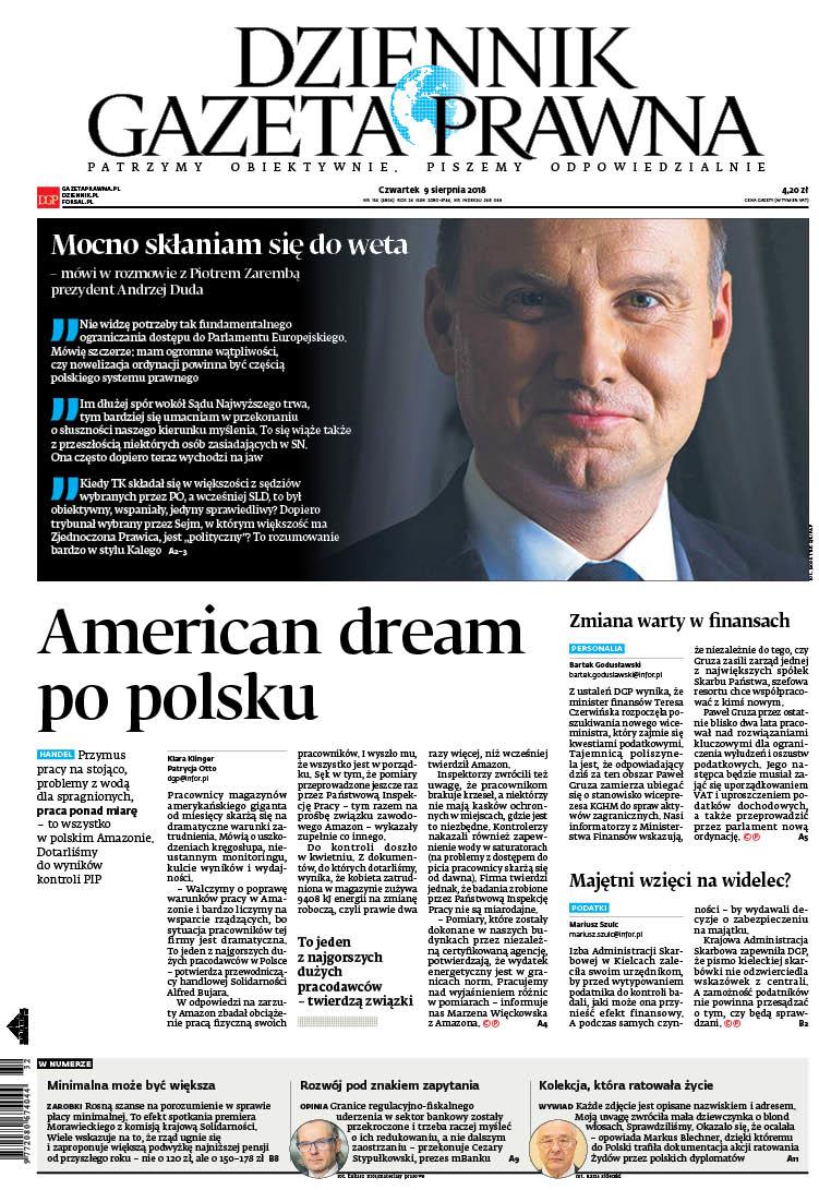 """Pierwsza strona czwartkowego wydania """"Dziennika Gazety Prawnej"""" /materiały prasowe /"""