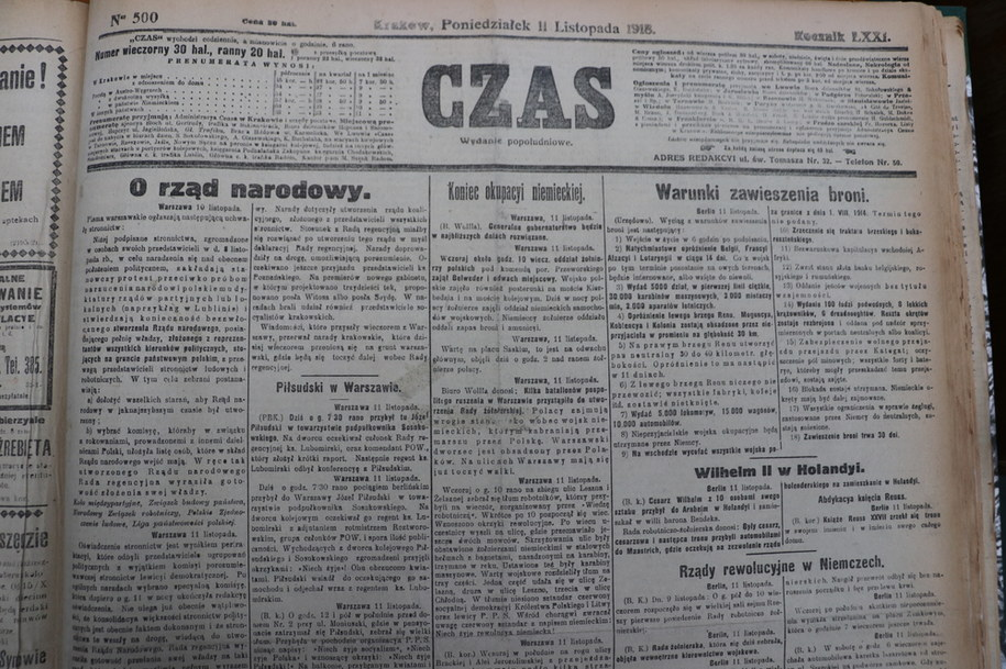 """Pierwsza strona gazety """"Czas"""" /Józef Polewka /RMF FM"""