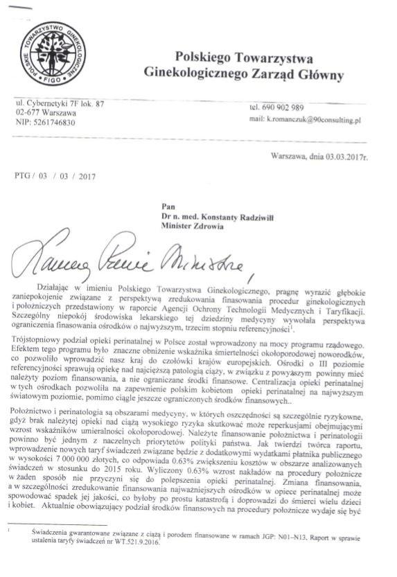 Pierwsza strona listu ginekologów do ministra /Zrzut ekranu