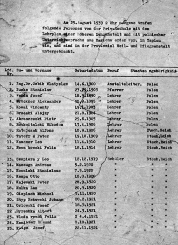 Pierwsza strona listy aresztowanych sporządzona w Tapiau 26 sierpnia 1939 roku /Odkrywca /Odkrywca