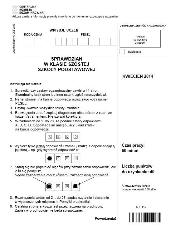 Pierwsza strona sprawdzianu 2014 /Cke.edu.pl /INTERIA.PL