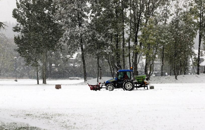 Pierwsze jesienne opady śniegu w Zakopanem /PAP