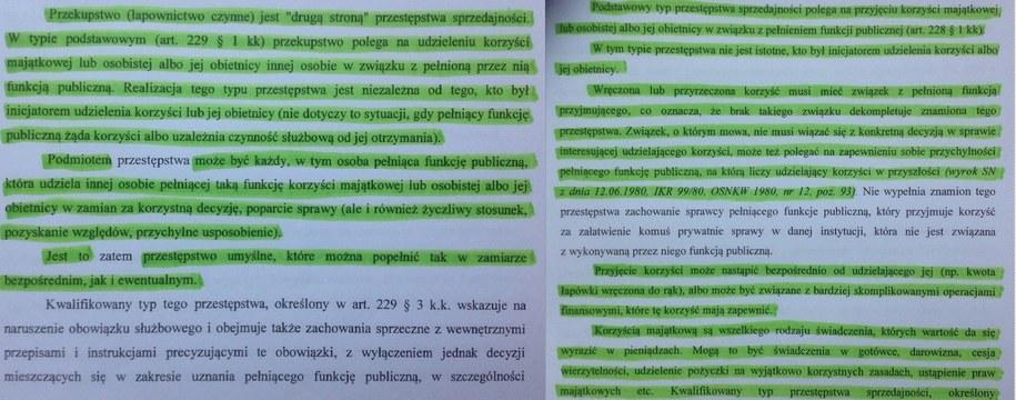 """Pierwsze - oznaczone na zielono zapożyczenia ze strony 20 wniosku, ze zmianą """"przekupstwa"""" na """"przestępstwa"""" i dopiskiem """"zatem"""". Kolejne - strona 24 wniosku - cztery fragmenty żywcem przepisane z komentarza prof. Andrzeja Marka, bez podania autora. /Tomasz Skory  /RMF FM"""