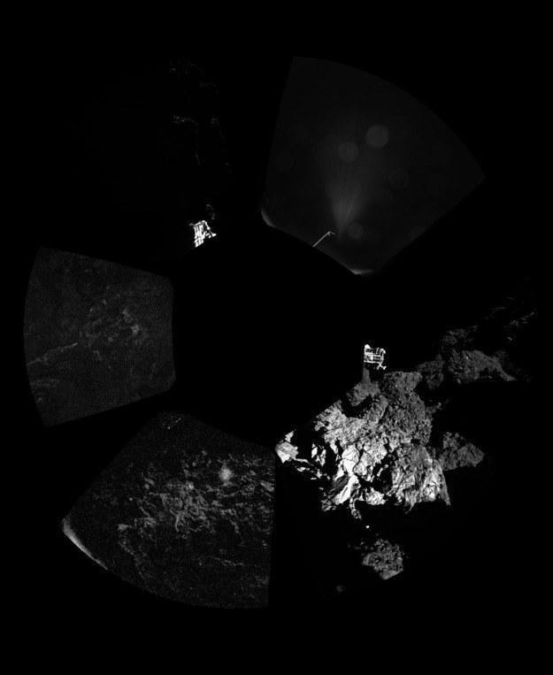 Pierwsze panoramiczne zdjęcie wykonane przez kamerę lądownika Philae. Fot. ESA/Rosetta/Philae/CIVA /materiały prasowe