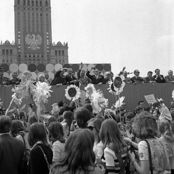Warszawa, 01.05.1975, pochód pierwszomajowy