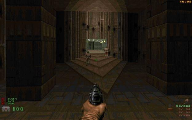 """Pierwszy poziom """"Dooma II"""" pod ZDoomem. Nowoczesny HUD, celownik, mouselook i bardzo ostra rozdzielczość. Jednym słowem: bezduszność. /INTERIA.PL"""