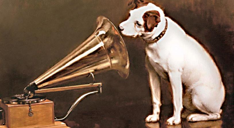 Pies Nipper słucha głosu swojego nieżyjącego pana. Dźwięk dobiega z gramofonu. /21 wiek - history