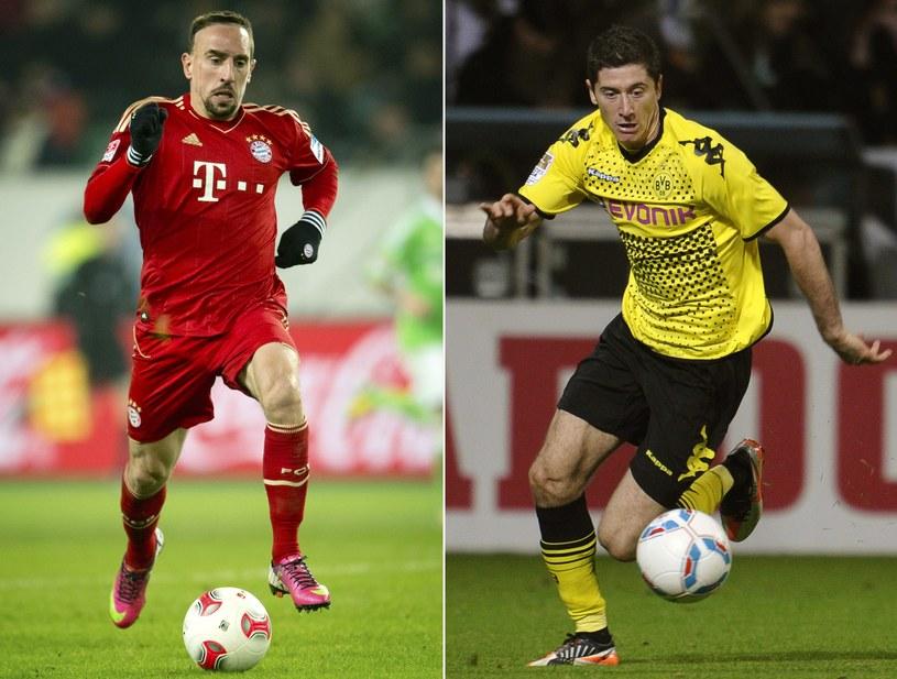 Piłkarz Borussii Robert Lewandowski (z prawej) i Franck Ribery, gwiazda Bayernu /AFP