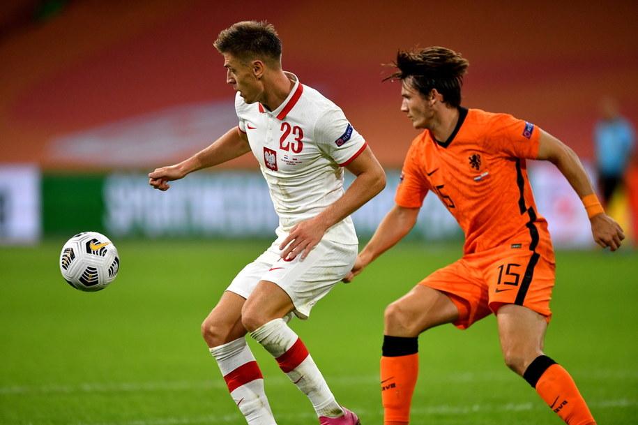 Piłkarz reprezentacji Polski Krzysztof Piątek podczas meczu z Holandią /Piotr Nowak /PAP