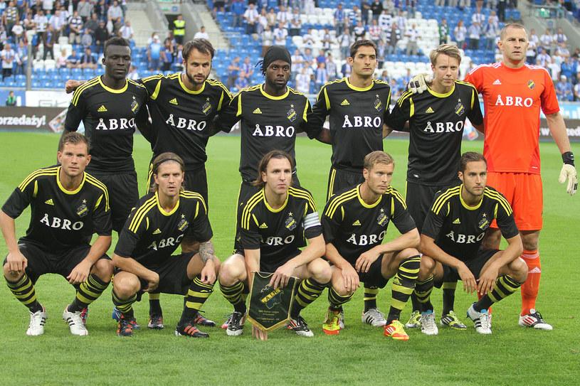 Piłkarze AIK Solna Sztokholm przed meczem w Poznaniu /Andrzej Grupa /INTERIA.PL