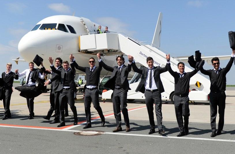 Piłkarze BVB po powrocie z Madrytu /AFP