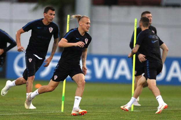 Piłkarze Chorwacji podczas treningu /MOHAMED MESSARA /PAP/EPA