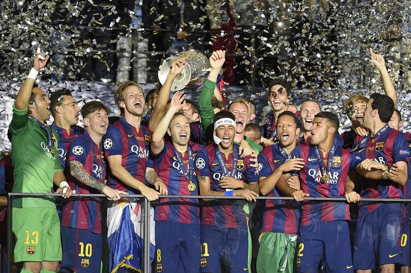 Piłkarze FC Barcelona z Pucharem Europy /AFP