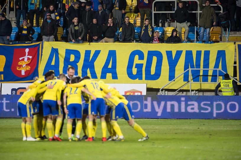 Piłkarze i kibice Arki Gdynia /Wojciech Stróżyk /East News