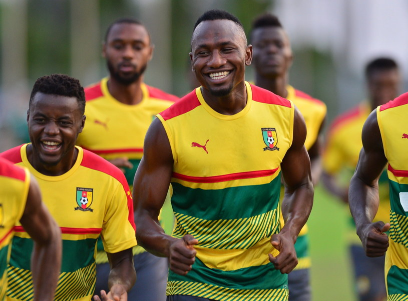 Piłkarze Kamerunu na treningu w Libreville /SAMUEL SHIVAMBU /PAP/EPA