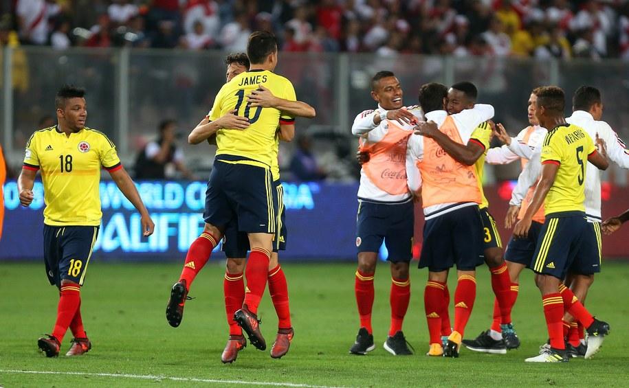 Piłkarze Kolumbii cieszący się z awansu /GERMAN FALCON /PAP/EPA