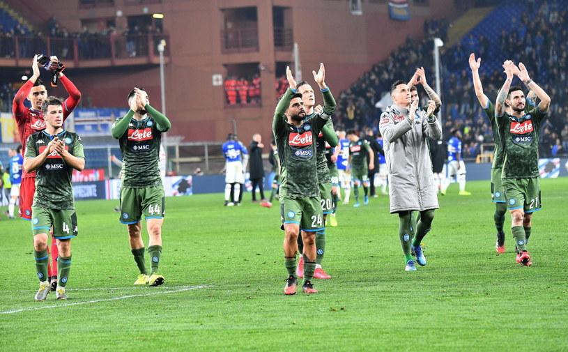 Piłkarze Napoli po wygranym meczu z Sampdorią /PAP/EPA