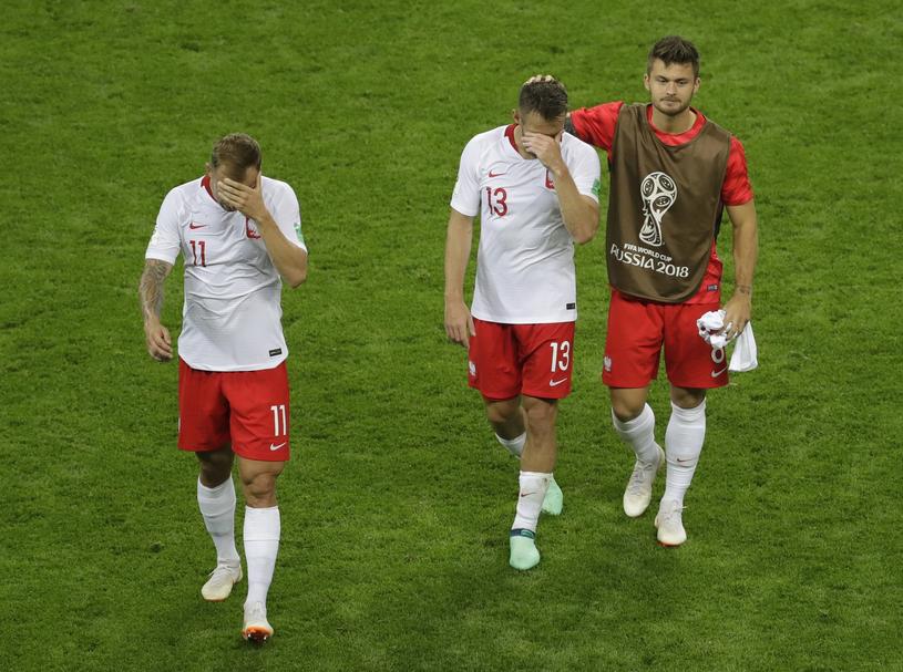 Piłkarze polskiej reprezentacji po meczu z Kolumbią /Associated Press /East News