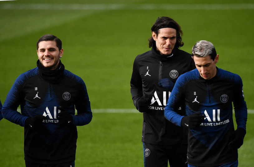 Piłkarze PSG. Od lewej: Mauro Icardi, Edinson Cavani oraz Angel Di Maria /FRANCK FIFE /AFP