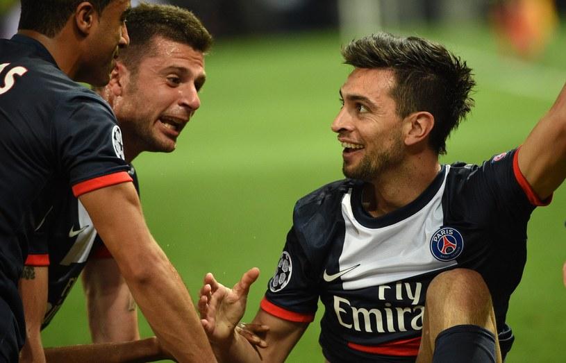 Piłkarze PSG szaleją ze szczęścia po golu Javiera Pastore (z prawej) /AFP