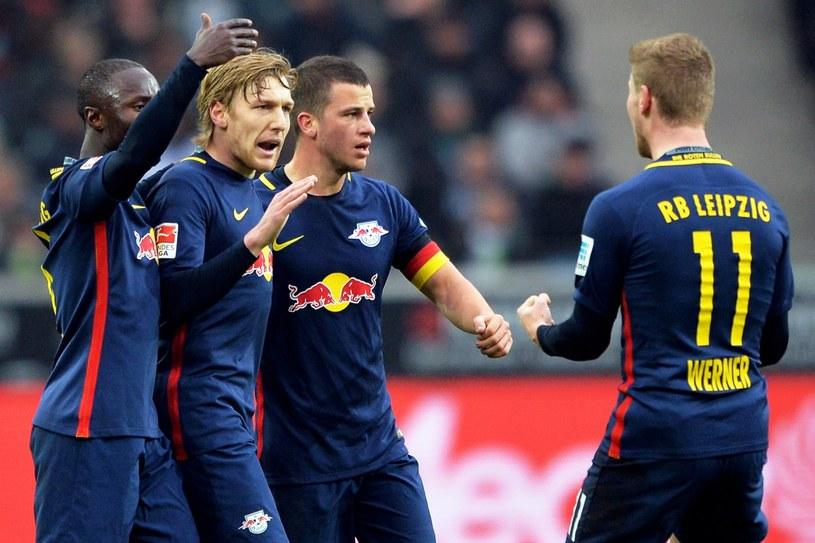 Piłkarze RB Lipsk świętują zwycięstwo nad Borussią Moenchengladbach /PAP/EPA