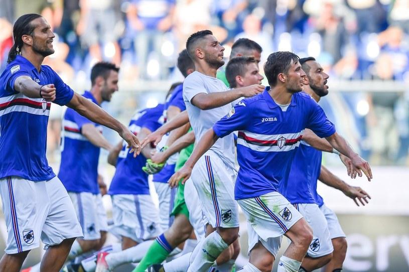 Piłkarze Sampdorii cieszą się ze zdobytej bramki /SIMONE ARVEDA /PAP/EPA