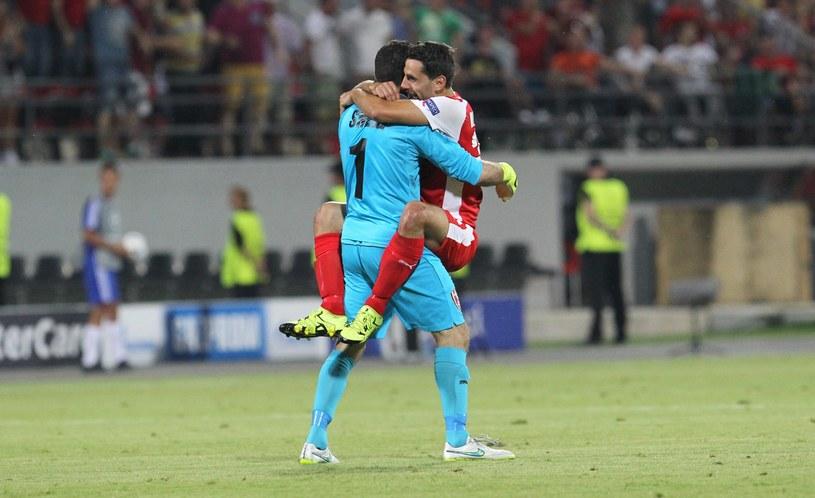 Piłkarze Skenderbeu świętują zdobycie bramki /Florian Goga /PAP/EPA