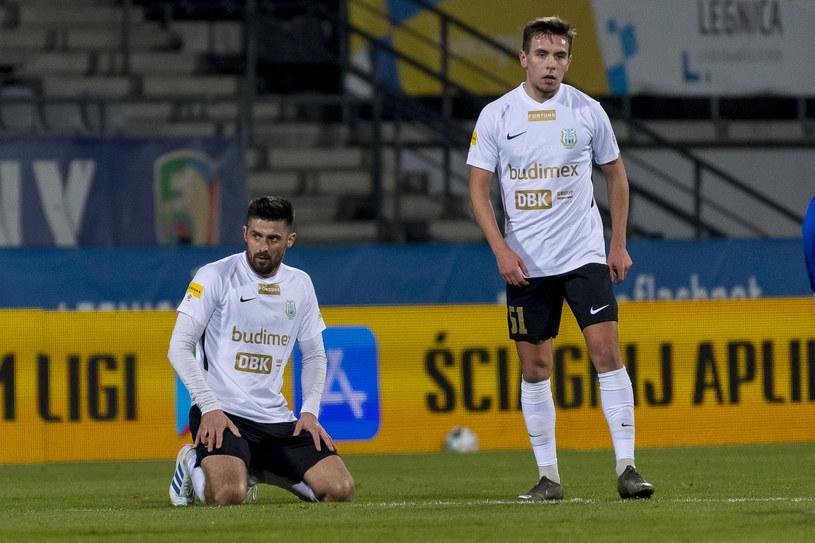 Piłkarze Stomilu Olsztyn w meczu przeciwko Miedzi Legnica /Newspix /Newspix
