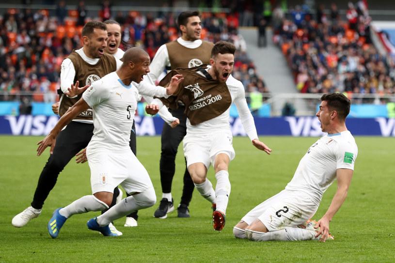 Piłkarze Urugwaju szaleją po zwycięskiej bramce Jose Gimeneza /Getty Images