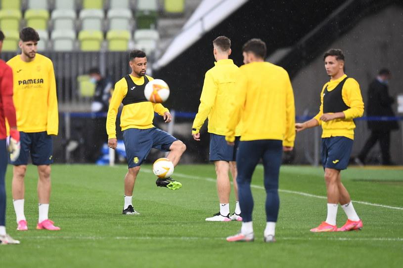 Piłkarze Villarreal CF podczas treningu dzień przed finałem LE /PAP