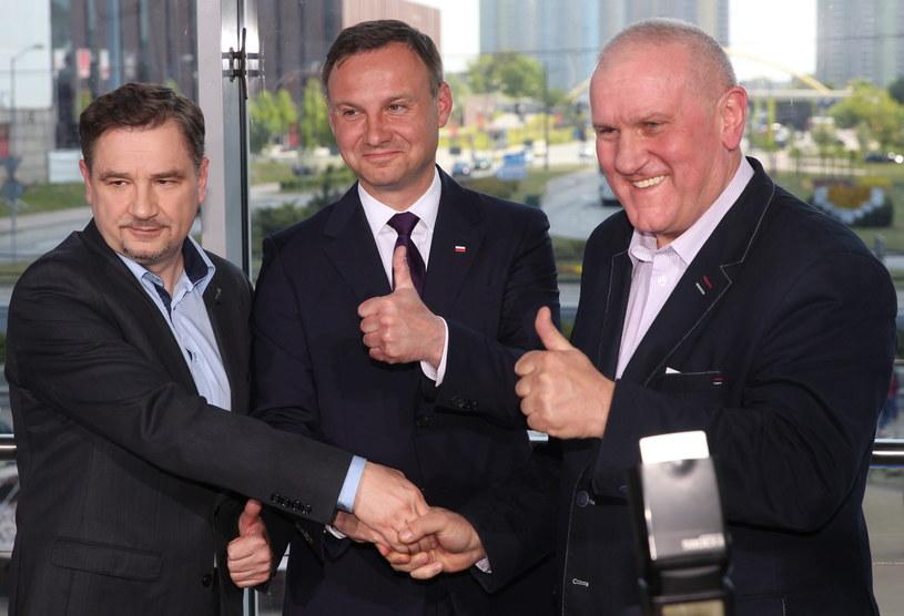 Piotr Duda, Andrzej Duda i Jan Guz /Andrzej Grygiel /PAP