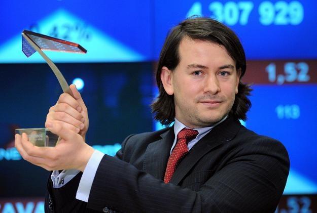 Piotr Góralczyk, członek zarządu Fachowcy.pl Ventures, w czasie debiutu na NewConnect /PAP