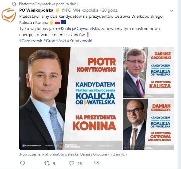 Piotr Korytkowski kandydatem na prezydenta Konina /Twitter
