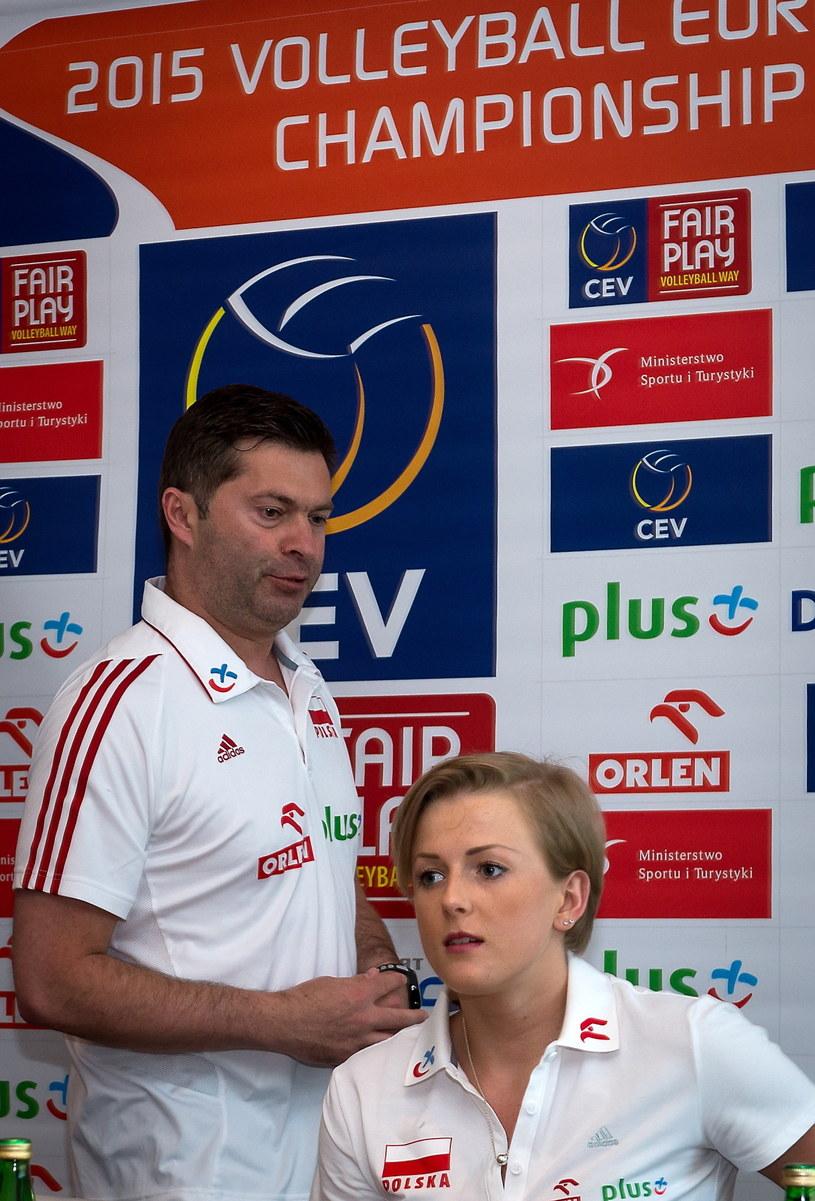 Piotr Makowski i Joanna Wołosz na konferencji prasowej przed turniejem w Bydgoszczy /Fot. Tytus Żmijewski /PAP